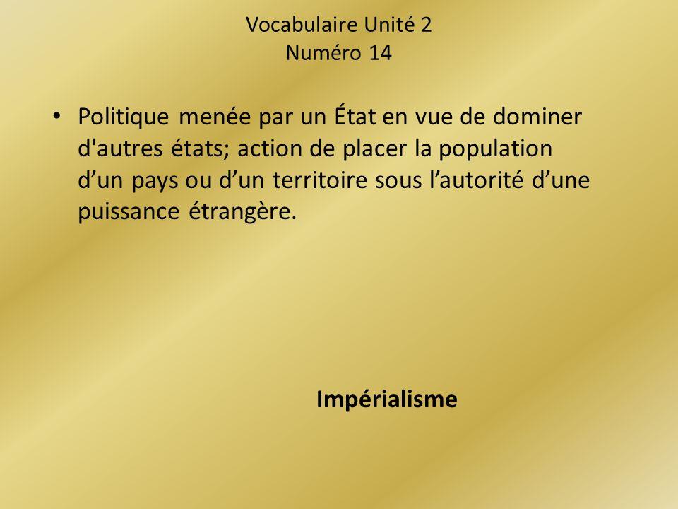 Vocabulaire Unité 2 Numéro 14