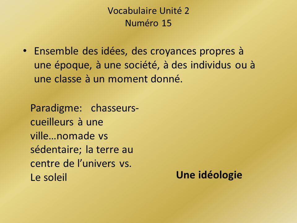 Vocabulaire Unité 2 Numéro 15