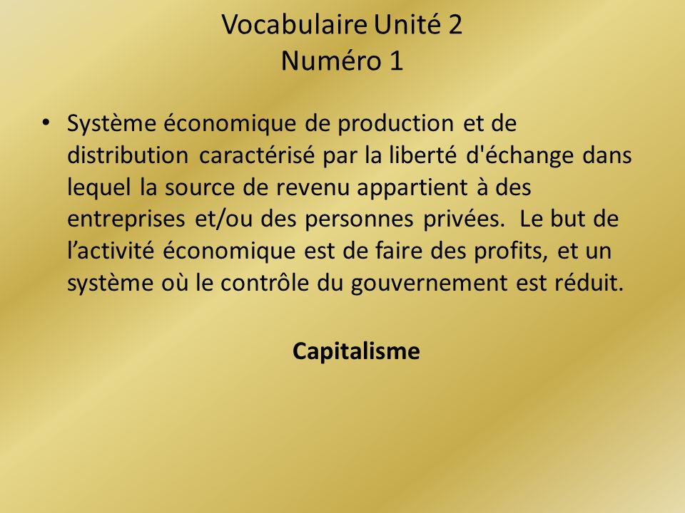 Vocabulaire Unité 2 Numéro 1