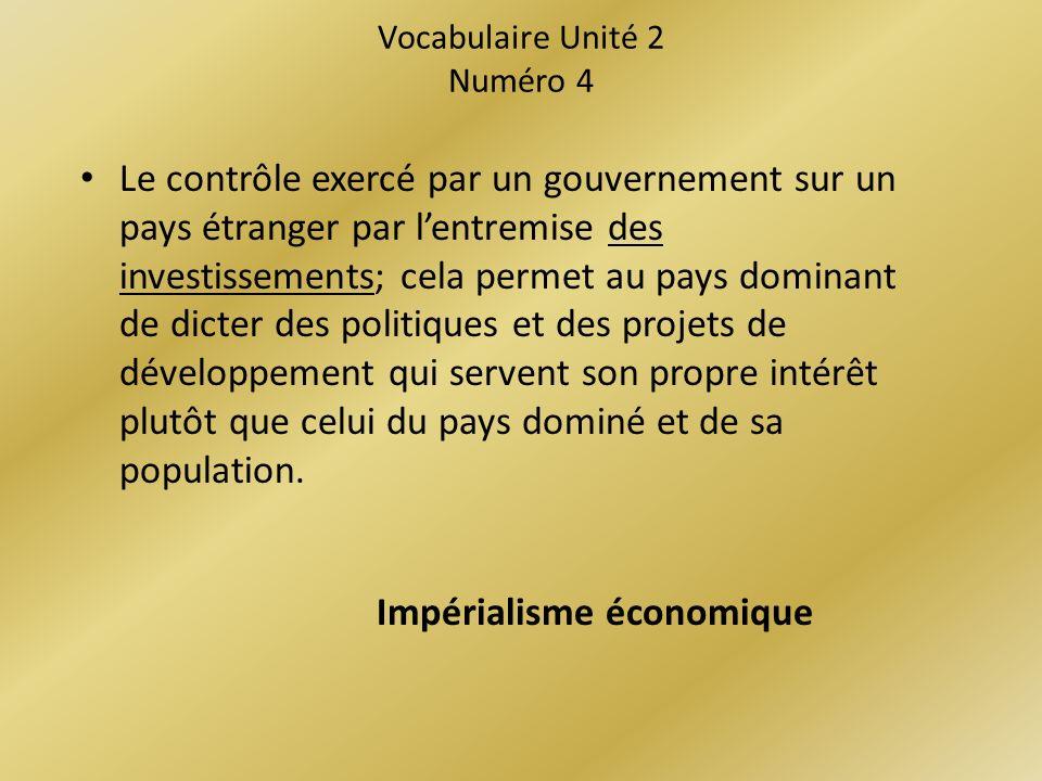 Vocabulaire Unité 2 Numéro 4