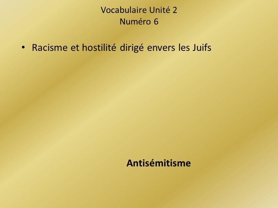 Vocabulaire Unité 2 Numéro 6