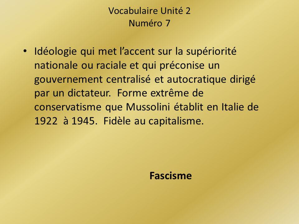 Vocabulaire Unité 2 Numéro 7