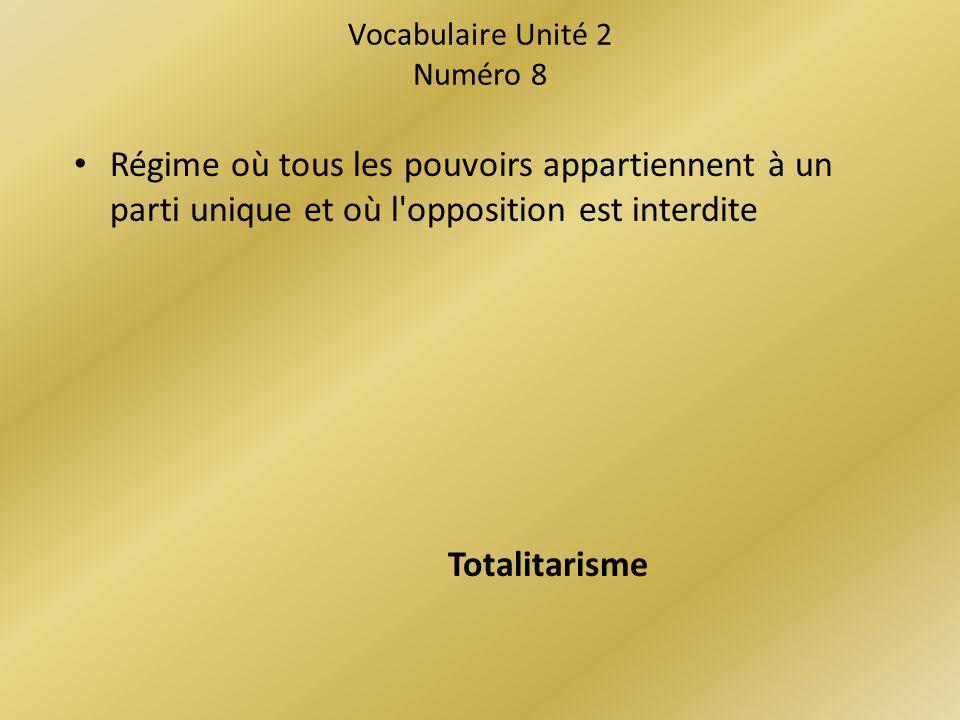 Vocabulaire Unité 2 Numéro 8
