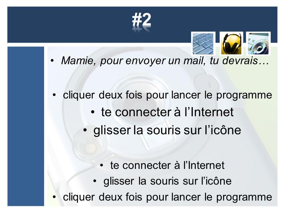 #2 te connecter à l'Internet glisser la souris sur l'icône