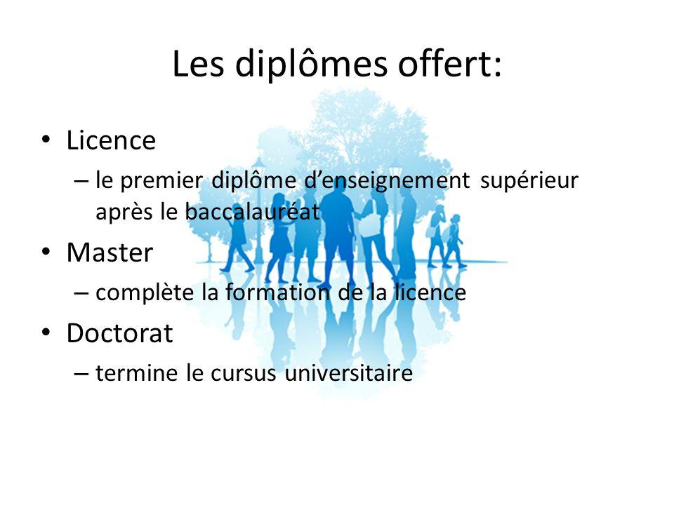 Les diplômes offert: Licence Master Doctorat