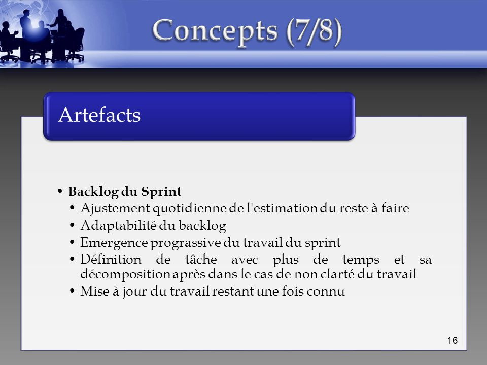 Concepts (7/8) Artefacts Backlog du Sprint