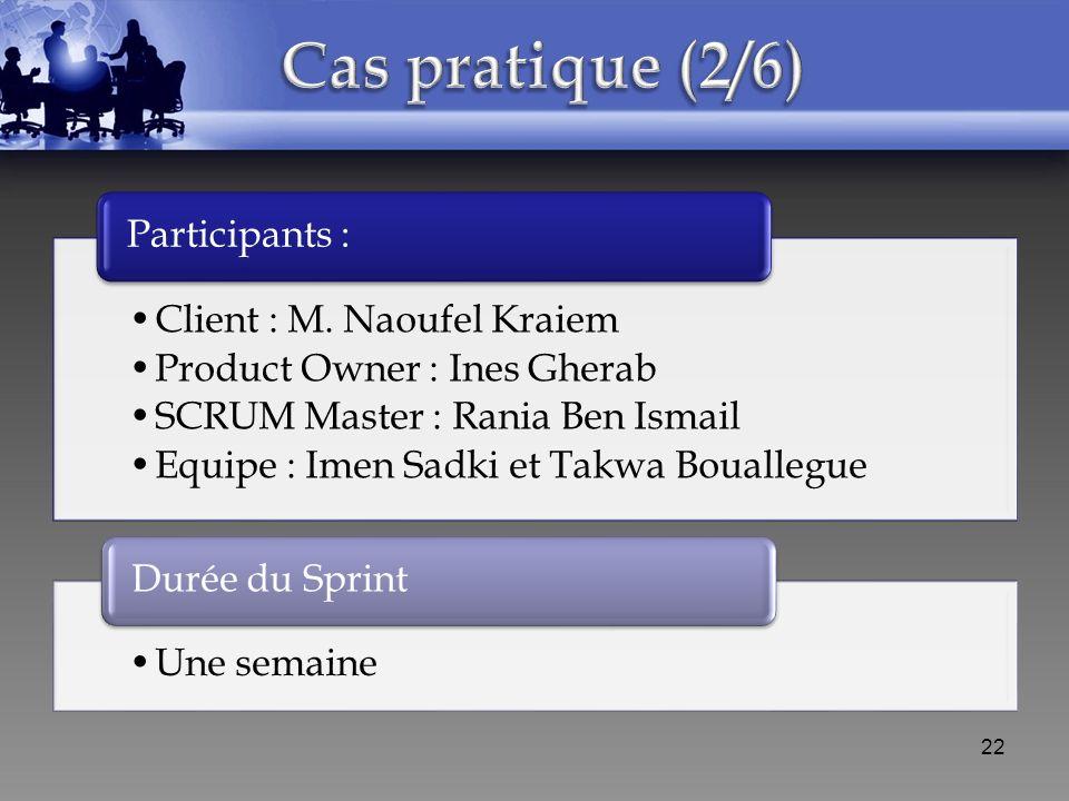 Cas pratique (2/6) Participants : Client : M. Naoufel Kraiem