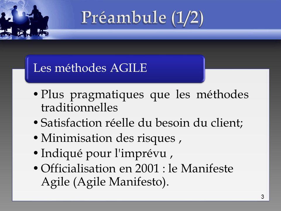 Préambule (1/2) Les méthodes AGILE