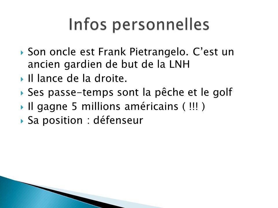 Infos personnelles Son oncle est Frank Pietrangelo. C'est un ancien gardien de but de la LNH. Il lance de la droite.