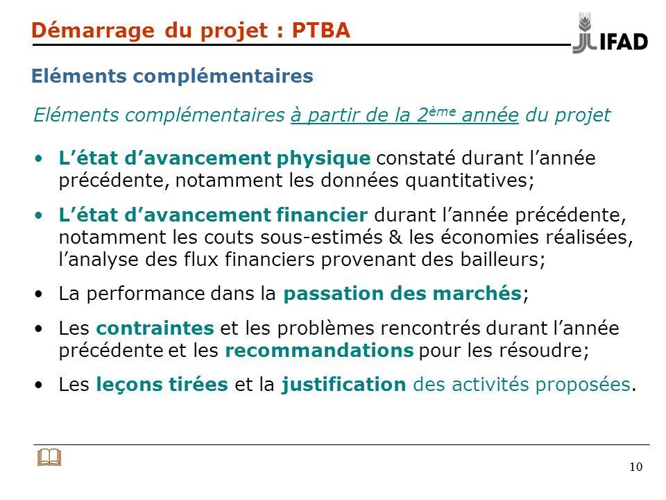 Démarrage du projet : PTBA Eléments complémentaires