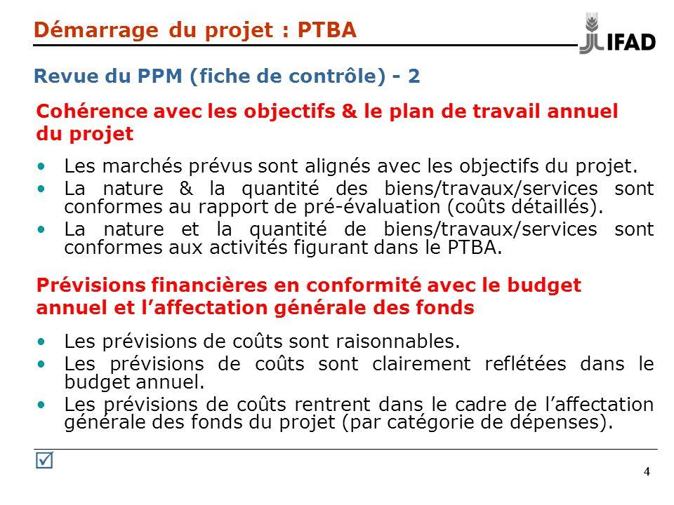 R Démarrage du projet : PTBA Revue du PPM (fiche de contrôle) - 2