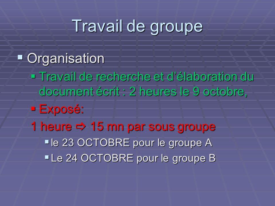 Travail de groupe Organisation