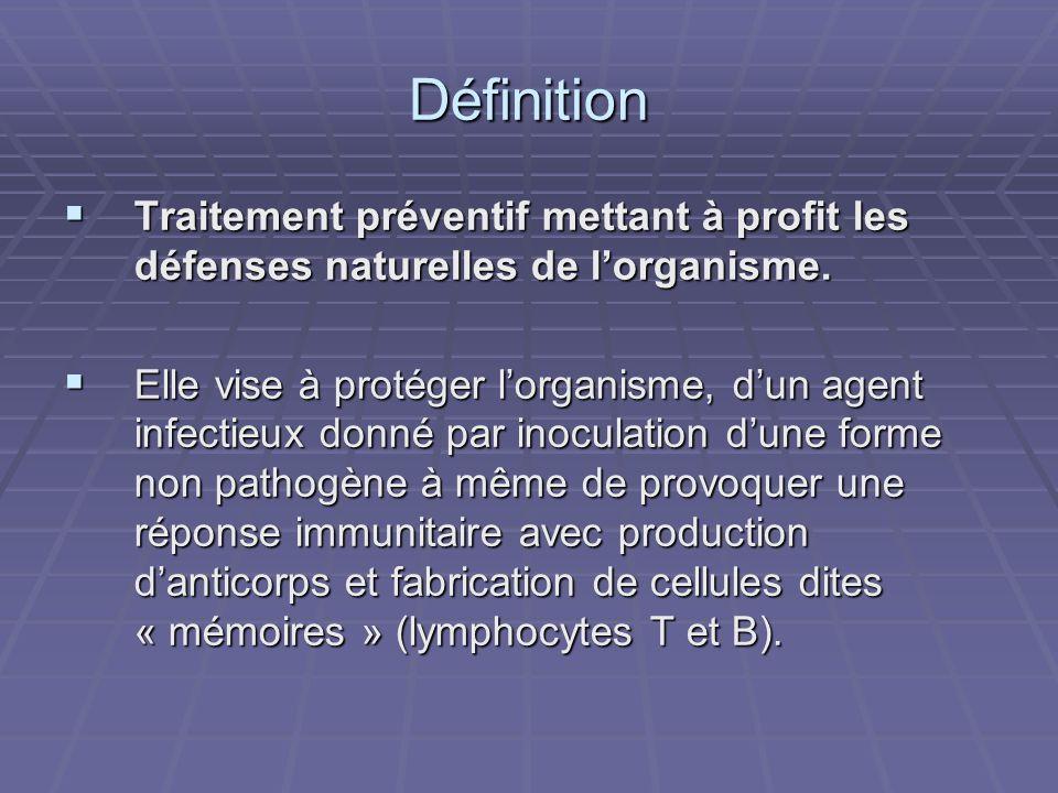 Définition Traitement préventif mettant à profit les défenses naturelles de l'organisme.