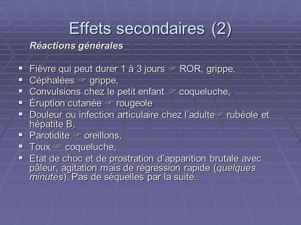 Effets secondaires (2) Réactions générales