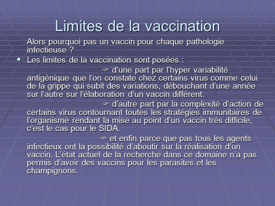 Limites de la vaccination