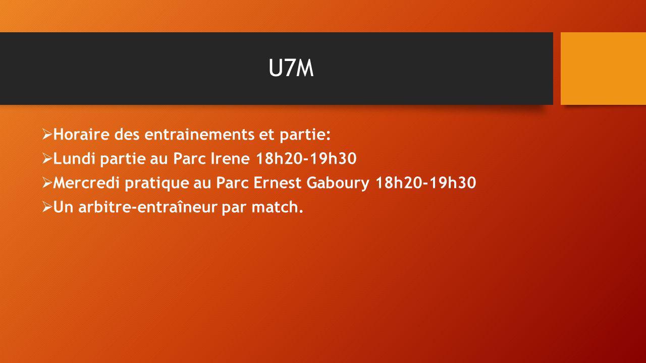 U7M Horaire des entrainements et partie: