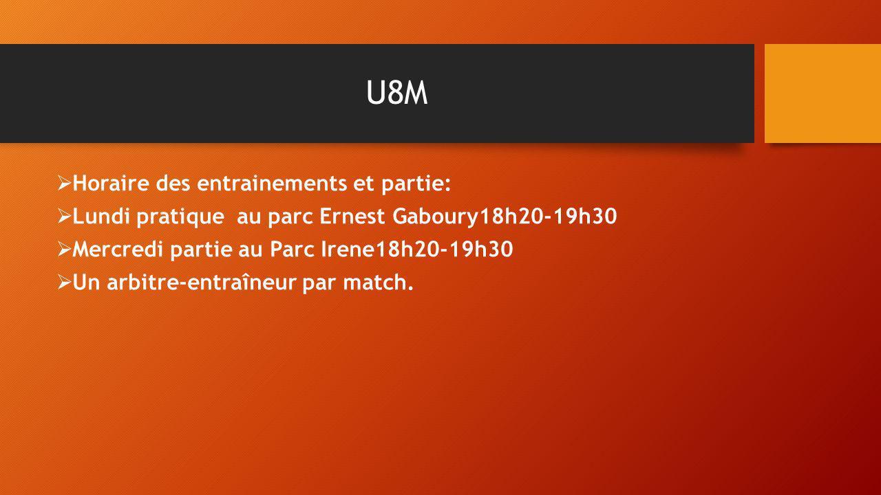 U8M Horaire des entrainements et partie: