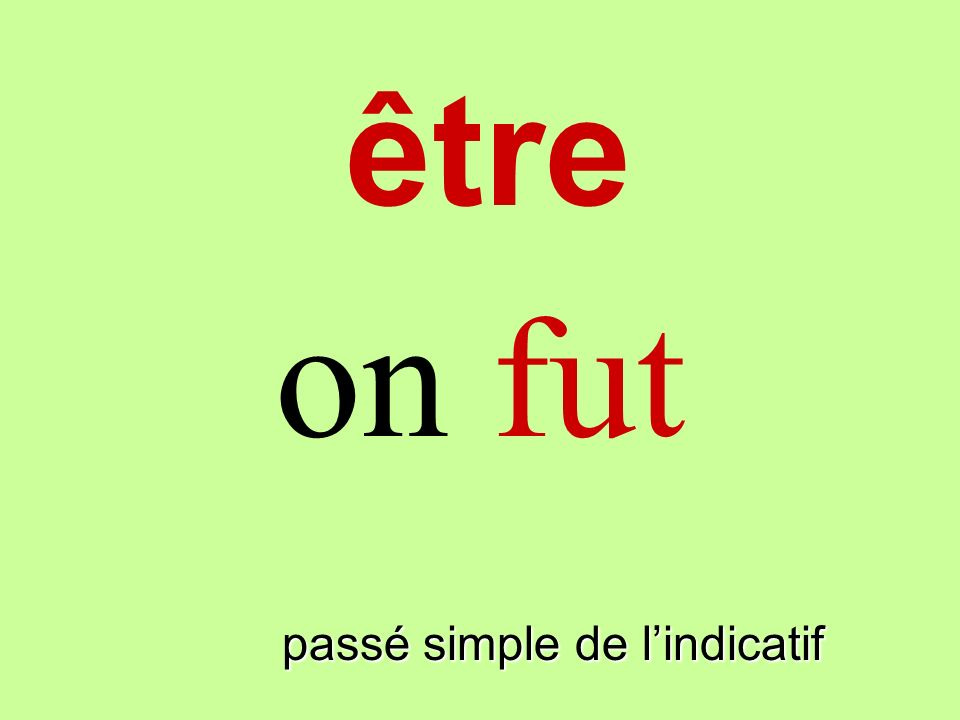 être on fut finir passé simple de l'indicatif