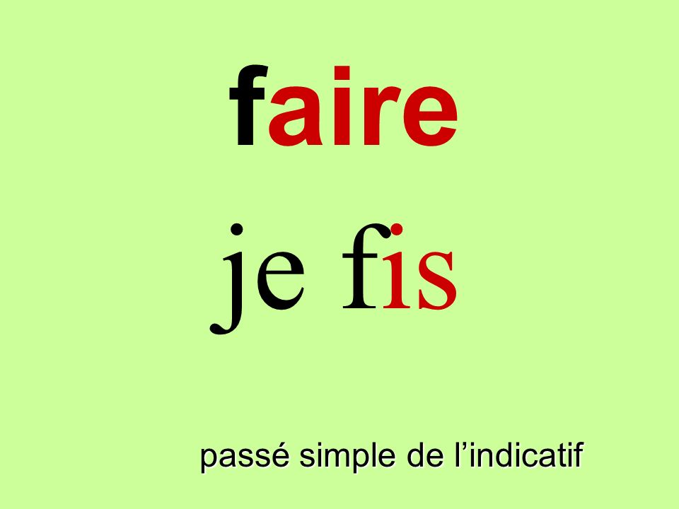 faire je fis faire passé simple de l'indicatif