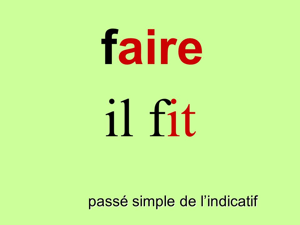 faire il fit faire passé simple de l'indicatif