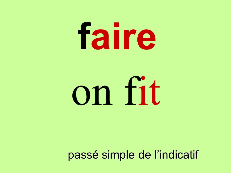 faire on fit faire passé simple de l'indicatif
