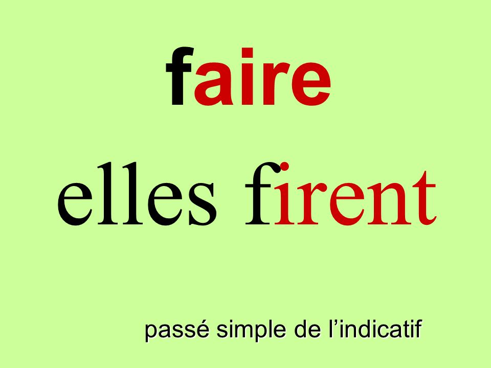 faire elles firent faire passé simple de l'indicatif