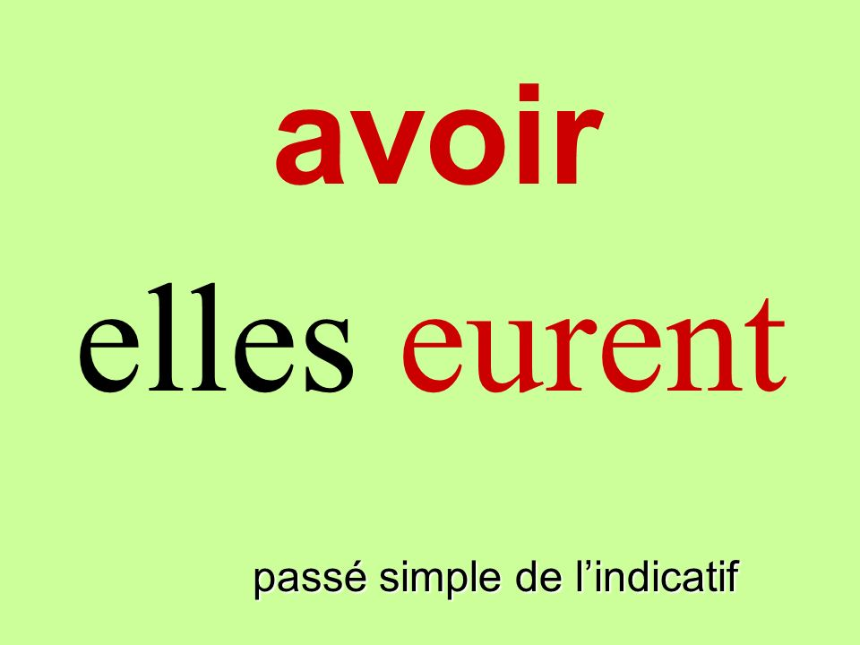 avoir elles eurent finir passé simple de l'indicatif