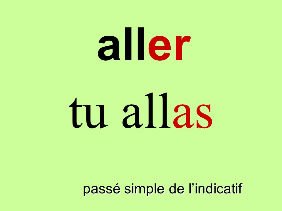 aller tu allas finir passé simple de l'indicatif