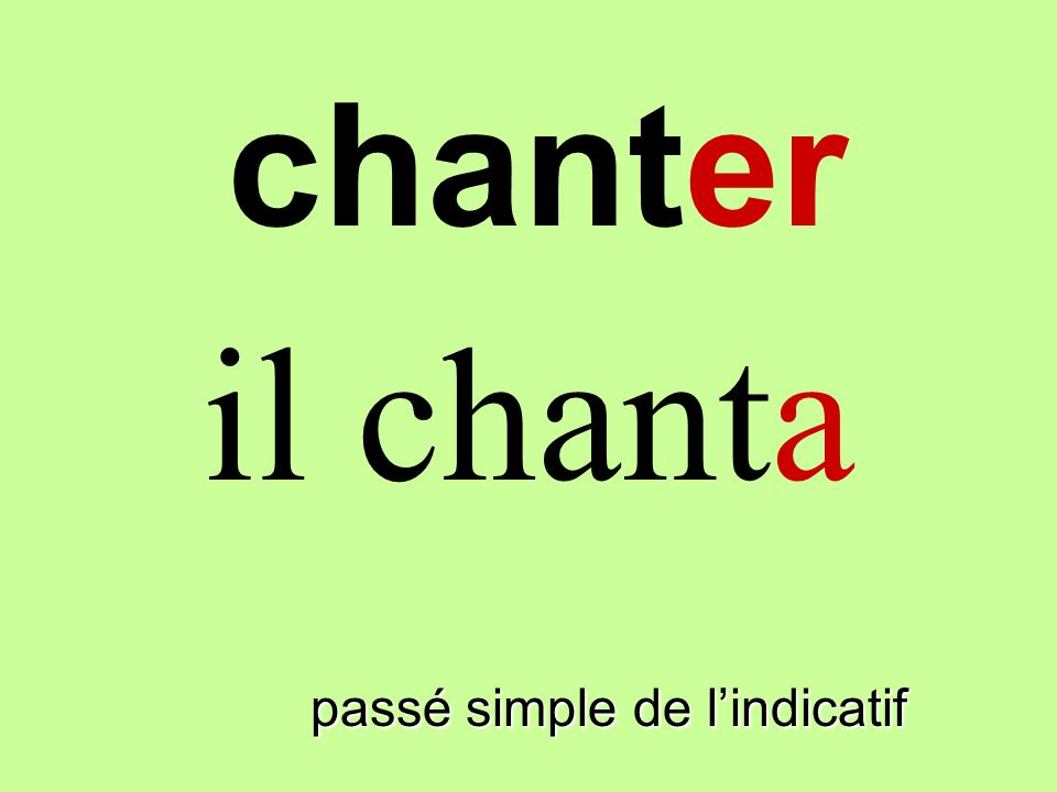 chanter il chanta finir passé simple de l'indicatif