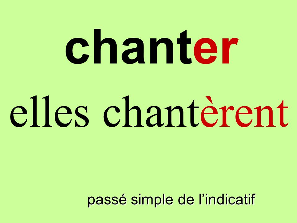 chanter elles chantèrent finir passé simple de l'indicatif