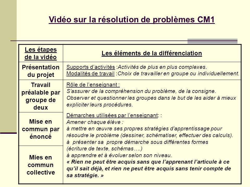 Vidéo sur la résolution de problèmes CM1