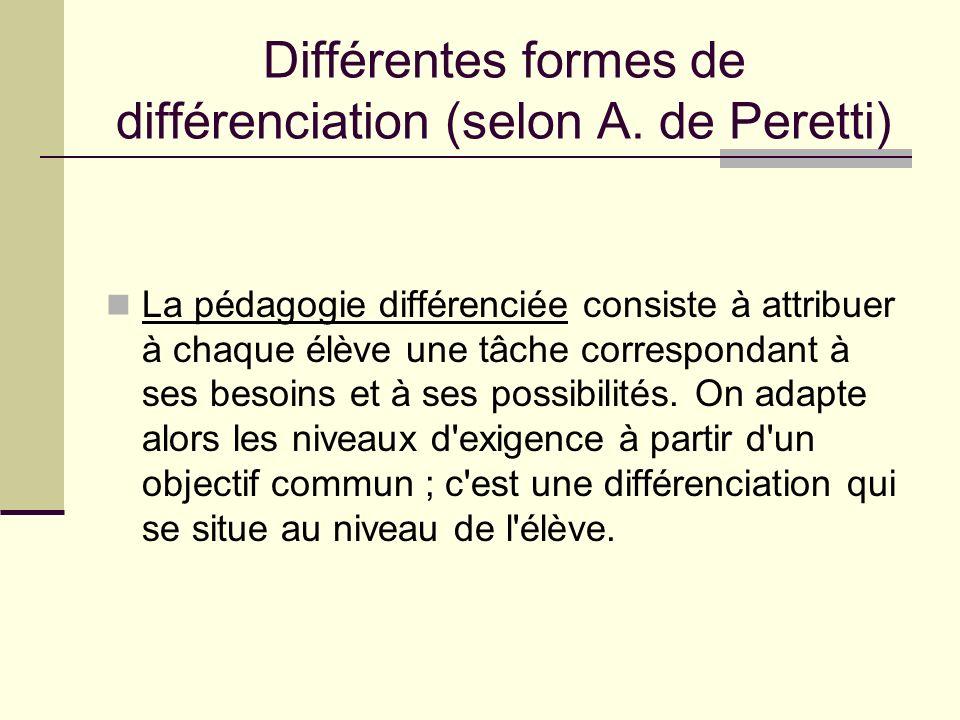 Différentes formes de différenciation (selon A. de Peretti)