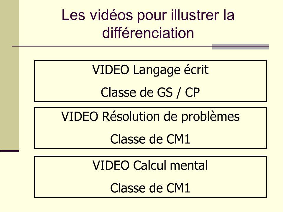 Les vidéos pour illustrer la différenciation