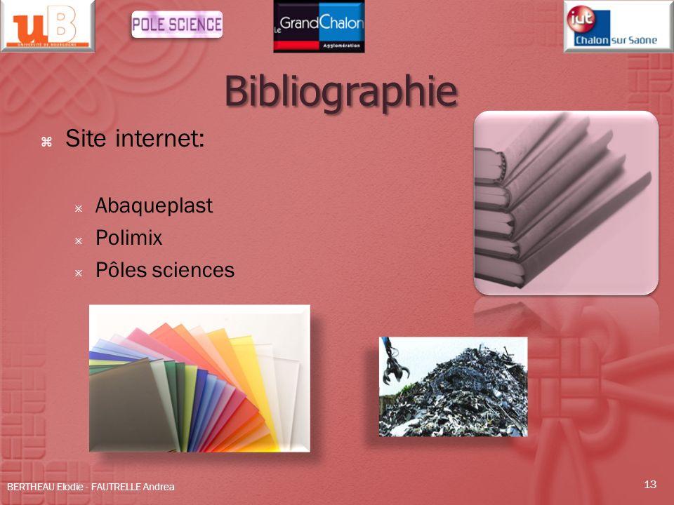 Bibliographie Site internet: Abaqueplast Polimix Pôles sciences