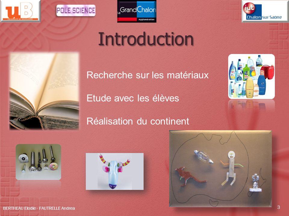 Introduction Recherche sur les matériaux Etude avec les élèves