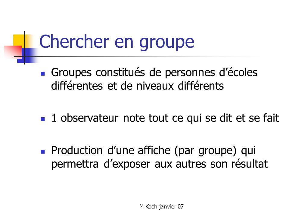 Chercher en groupe Groupes constitués de personnes d'écoles différentes et de niveaux différents. 1 observateur note tout ce qui se dit et se fait.