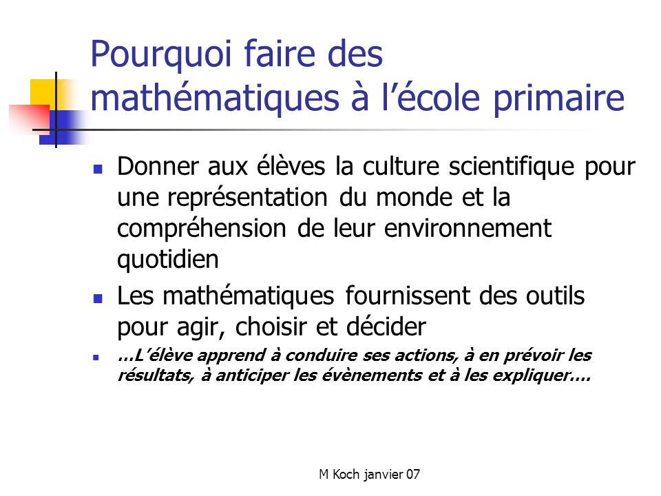 Pourquoi faire des mathématiques à l'école primaire