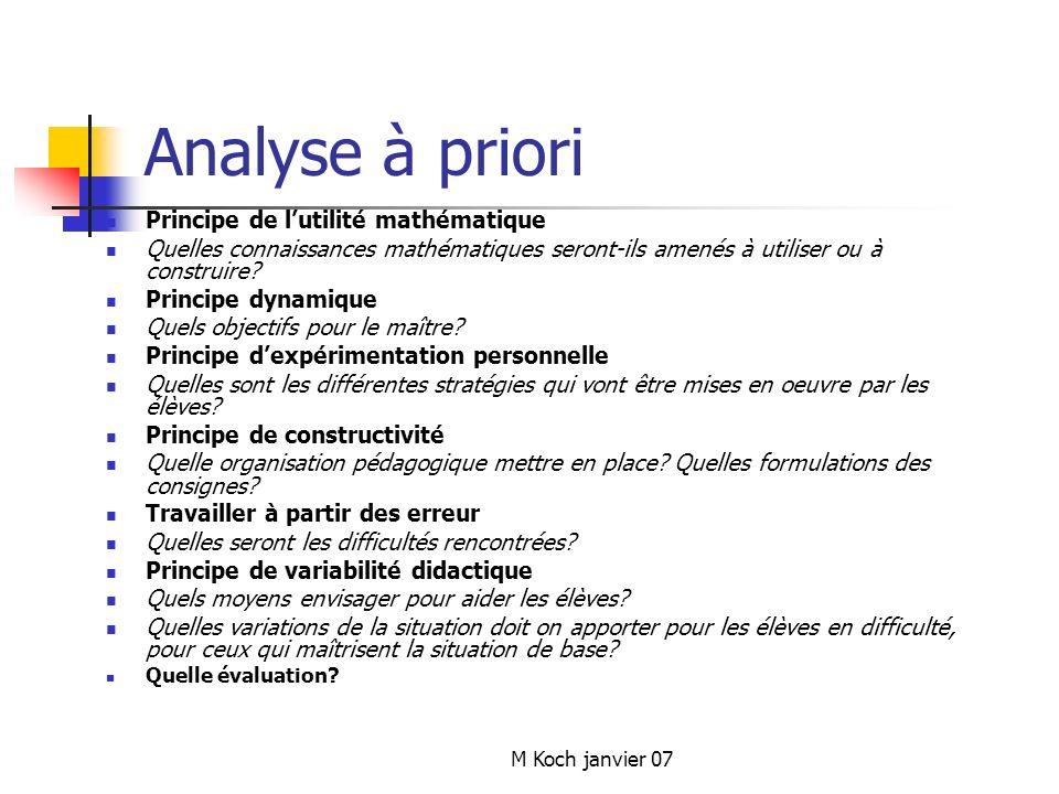 Analyse à priori Principe de l'utilité mathématique