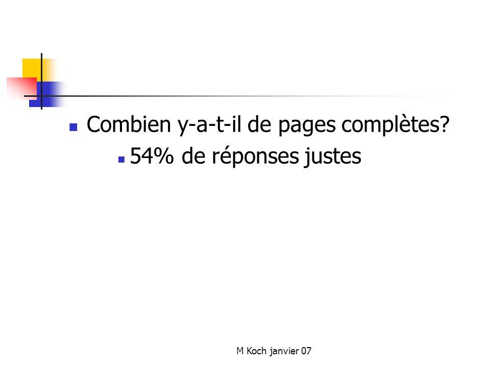 Combien y-a-t-il de pages complètes 54% de réponses justes