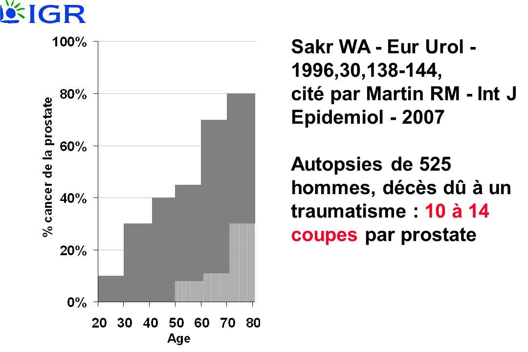 Sakr WA - Eur Urol - 1996,30,138-144, cité par Martin RM - Int J Epidemiol - 2007 Autopsies de 525 hommes, décès dû à un traumatisme : 10 à 14 coupes par prostate