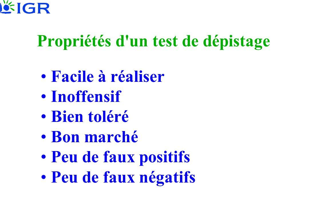 Propriétés d un test de dépistage