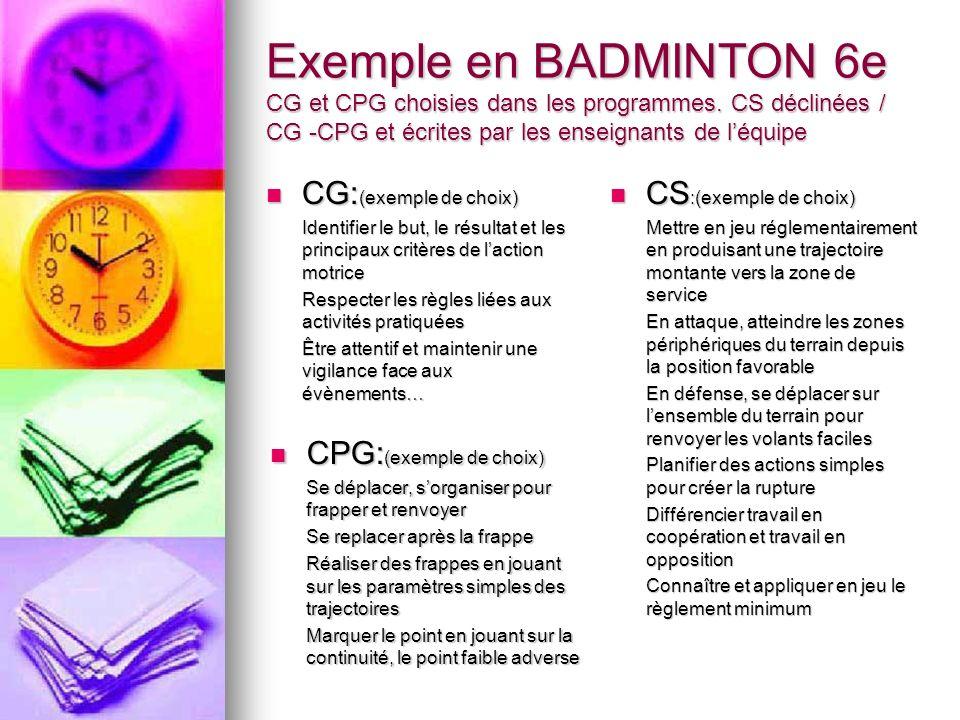 Exemple en BADMINTON 6e CG et CPG choisies dans les programmes