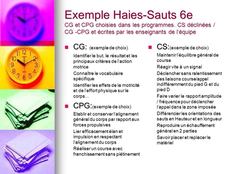 Exemple Haies-Sauts 6e CG et CPG choisies dans les programmes