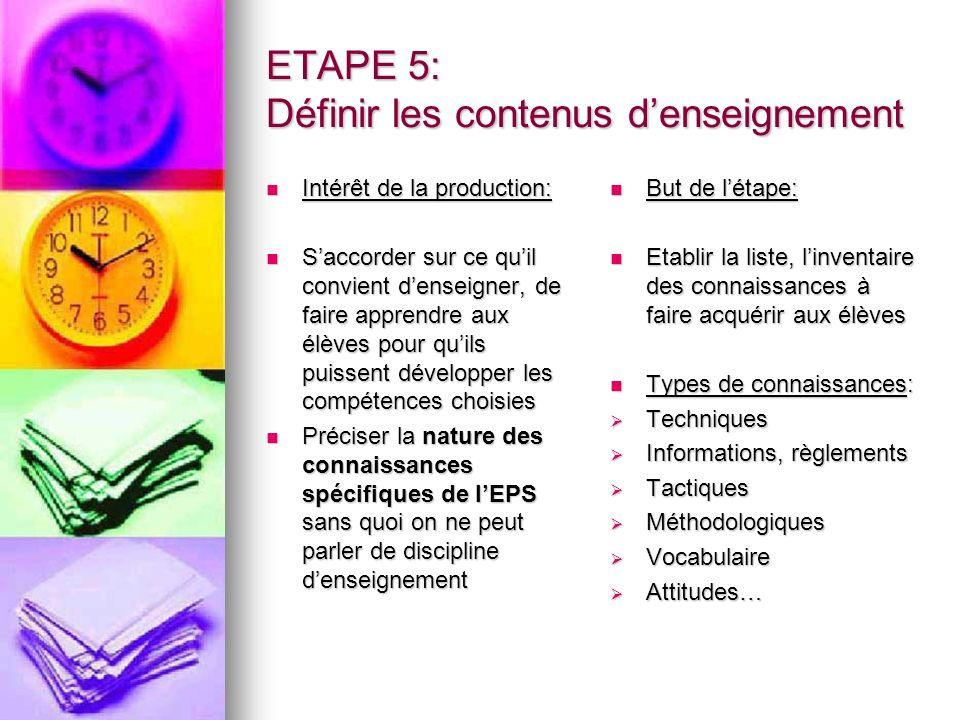 ETAPE 5: Définir les contenus d'enseignement