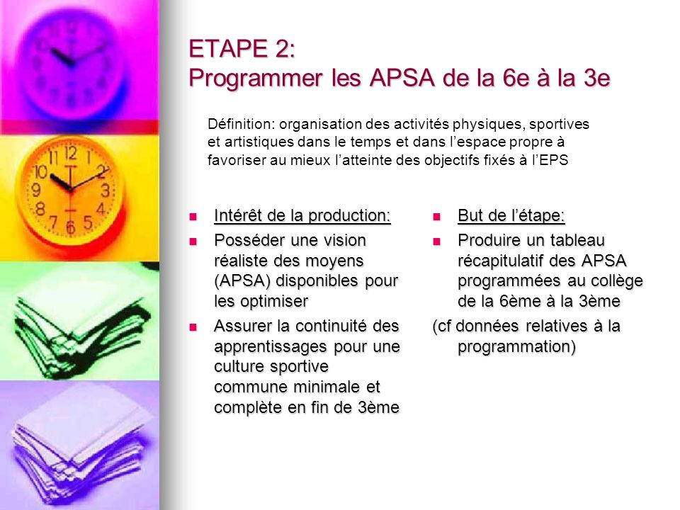 ETAPE 2: Programmer les APSA de la 6e à la 3e