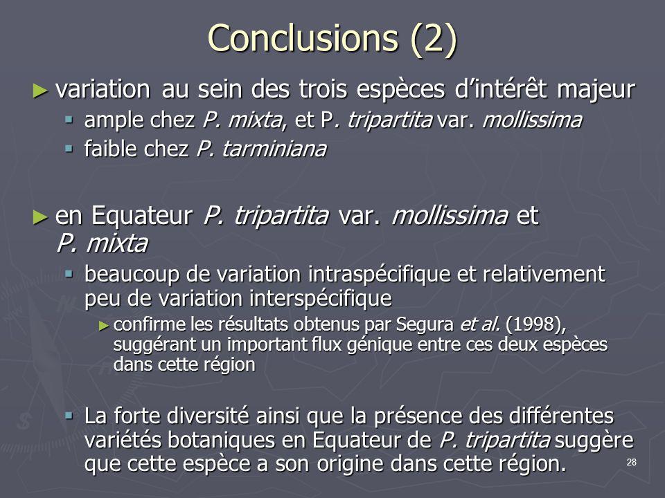 Conclusions (2) variation au sein des trois espèces d'intérêt majeur