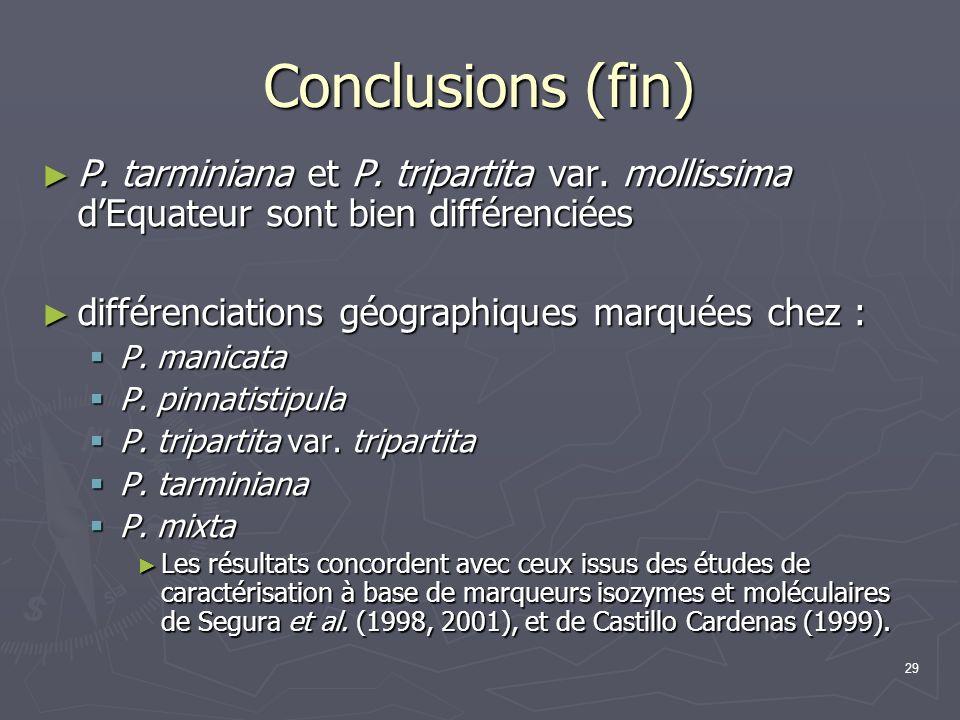 Conclusions (fin) P. tarminiana et P. tripartita var. mollissima d'Equateur sont bien différenciées.