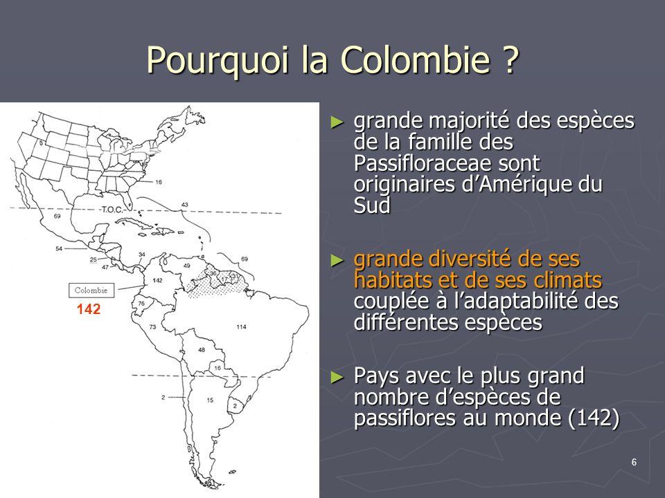 Pourquoi la Colombie grande majorité des espèces de la famille des Passifloraceae sont originaires d'Amérique du Sud.