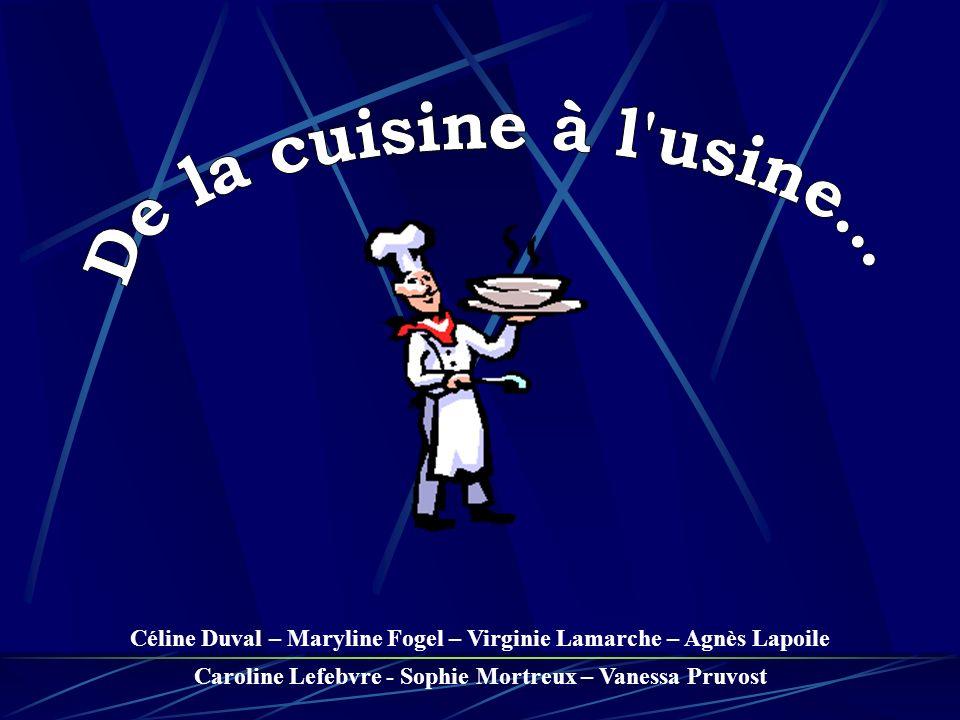 De la cuisine à l usine... Céline Duval – Maryline Fogel – Virginie Lamarche – Agnès Lapoile.