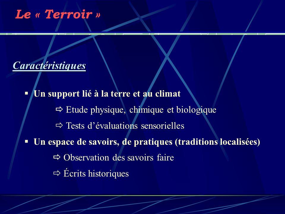 Le « Terroir » Caractéristiques Un support lié à la terre et au climat